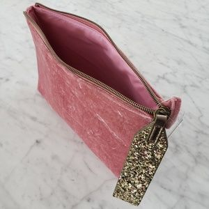 Gold & Pink Velvet Bag - Travel Cosmetic Clutch